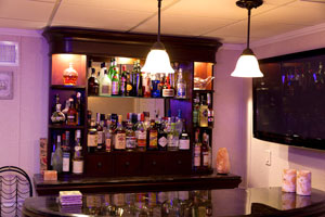 A basement bar installed in a finished basement in Wayne