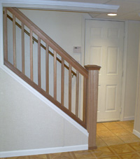 Renovated basement staircase in Teaneck