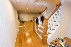 Finishing touches for a remodeled basement in Wayne
