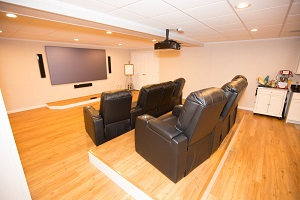 A basement turned into a home theater in Morristown